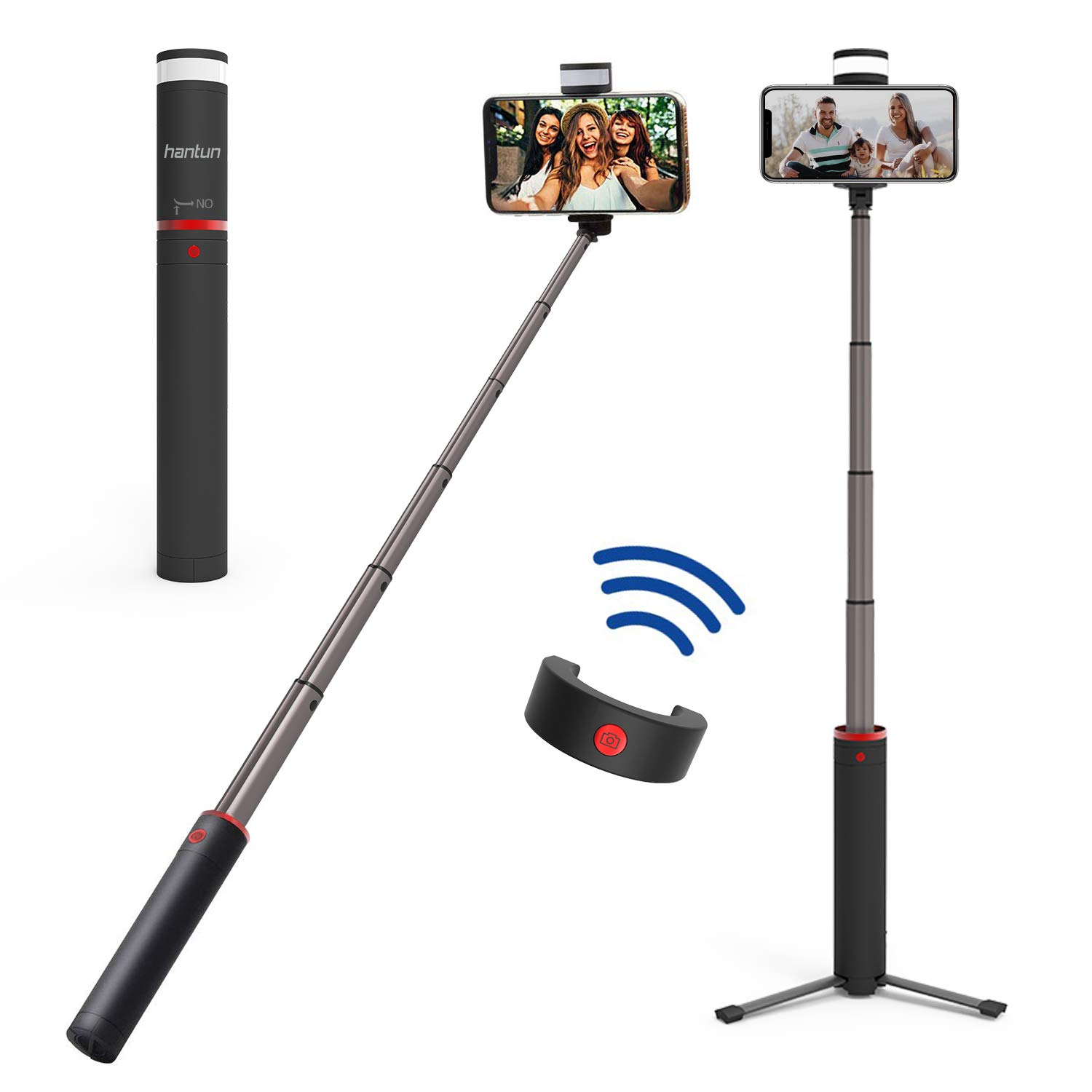 Hantun Selfie Stick Tripod, 3 in 1 Extendable Bluetooth Selfie Stick with Wireless Remote Shutter and Fill Light for iPhone Xs/Xs Max/XR/X/8, Galaxy S10/9/8/Note, Google Pixel and All Andriod Phones by hantun