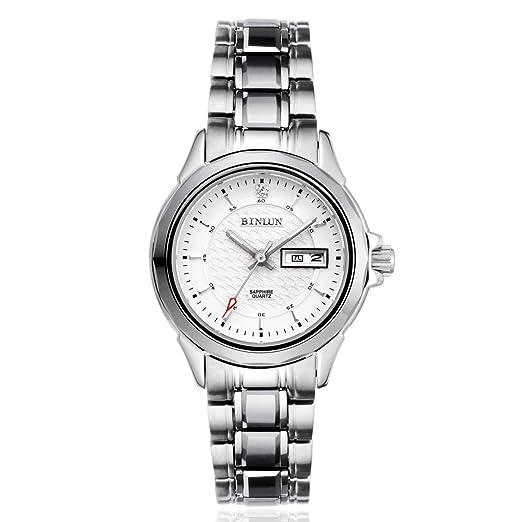 binlun Casual mujer relojes plata señoras reloj de cuarzo de acero inoxidable con fecha y día luminoso: Amazon.es: Relojes