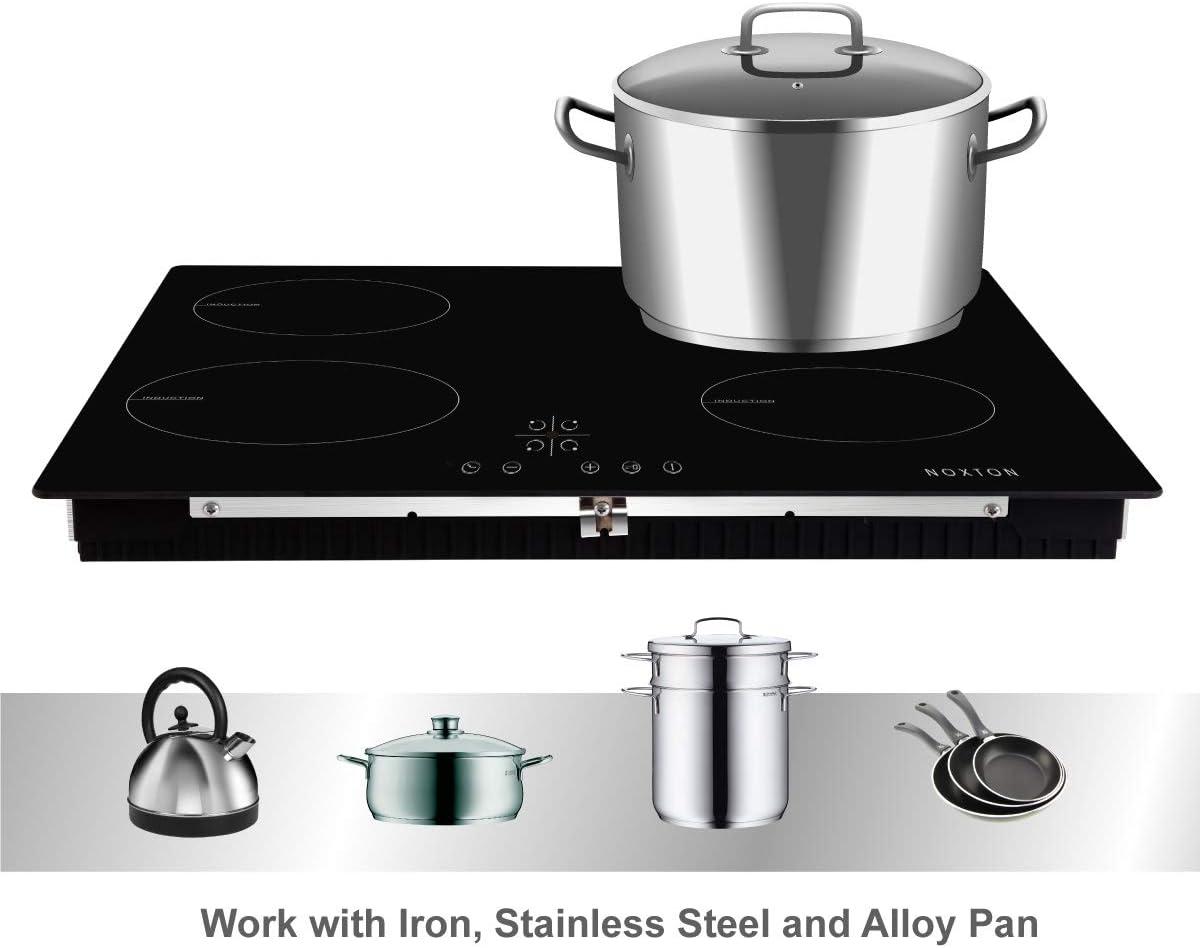 NOXTON 60cm Placas de Inducción 4 fuegos Vidrio negro Cocina eléctrica integrada de Domino con control táctil del sensor: Amazon.es: Hogar