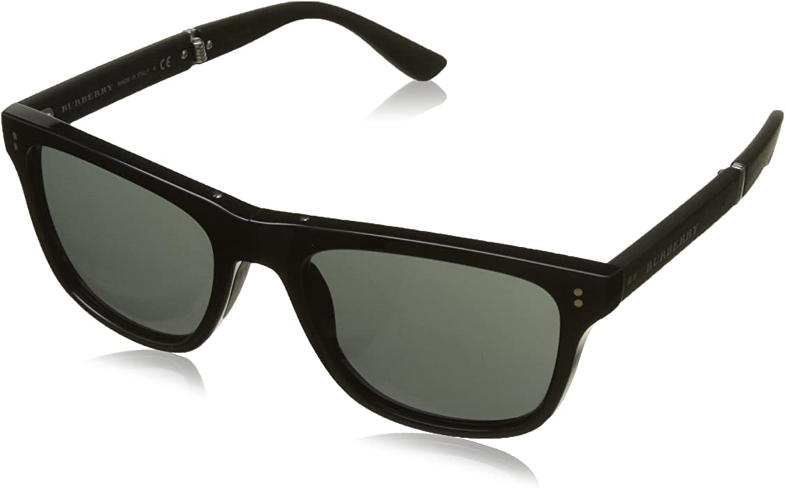 6cc5c9b4f32 Amazon.com  Burberry Men s BE4204 Sunglasses Black Dark Grey 55mm ...