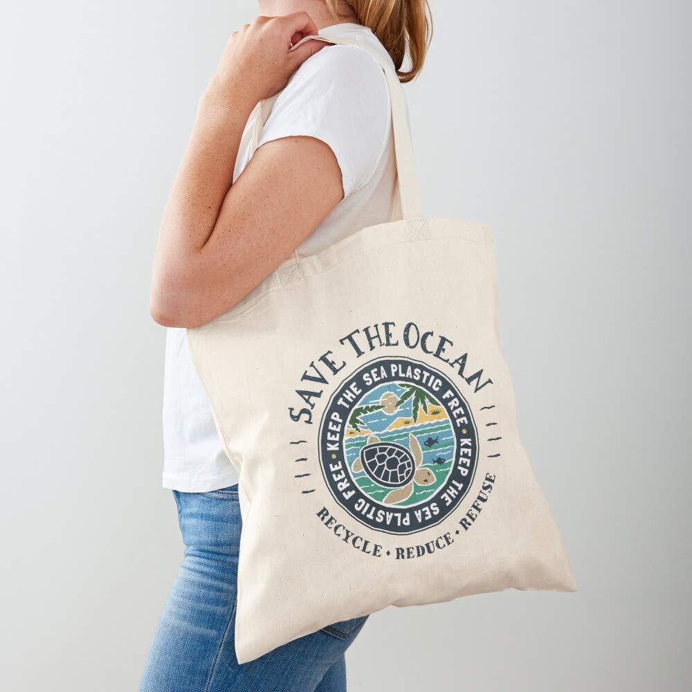 Canvas Grocery Bags Einkaufstaschen mit Griffen Robuste Einkaufstaschen aus Baumwolle Tote Sea The Plastic Free Scene Keep Save