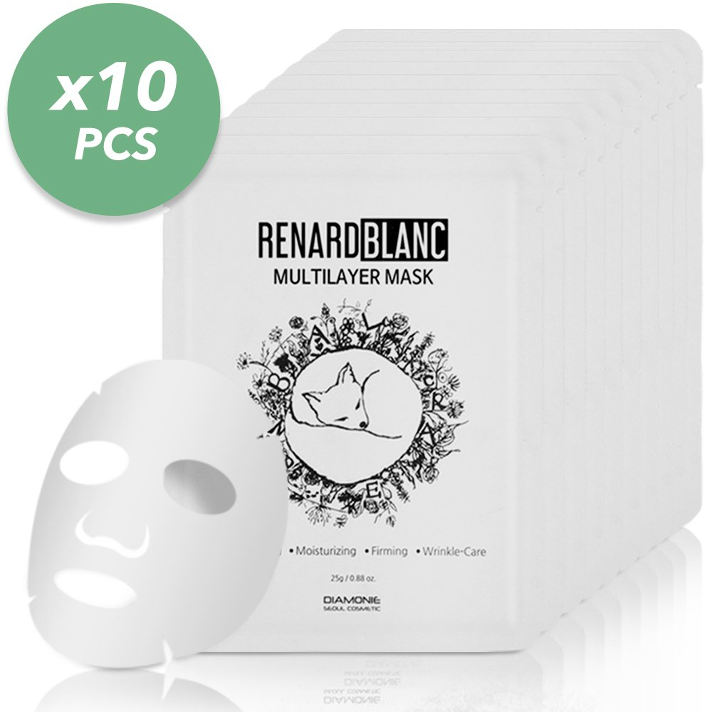 RENARDBLANC MOISTURIZING & FIRMING MASK, FIRST Multilayer support with Sodium Hyaluronate Extract, Re-fresh Care, Brightening, Revitalizing Tired Skin, for All Skin Types. (25g x 10 Sheets)