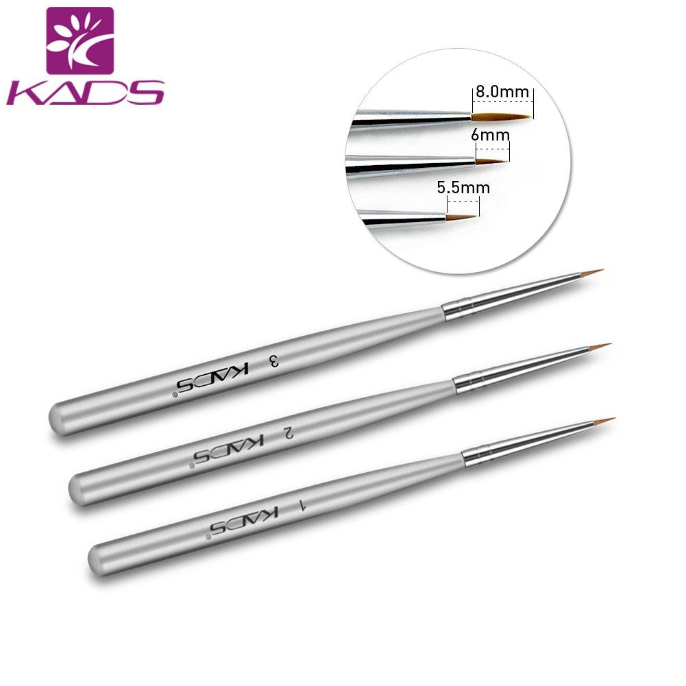 kads 3pcs/set profesional Cepillo del arte del clavo para UV Gel constructor uñas acrílicas Lápices para decorar uñas KADS Co. Ltd