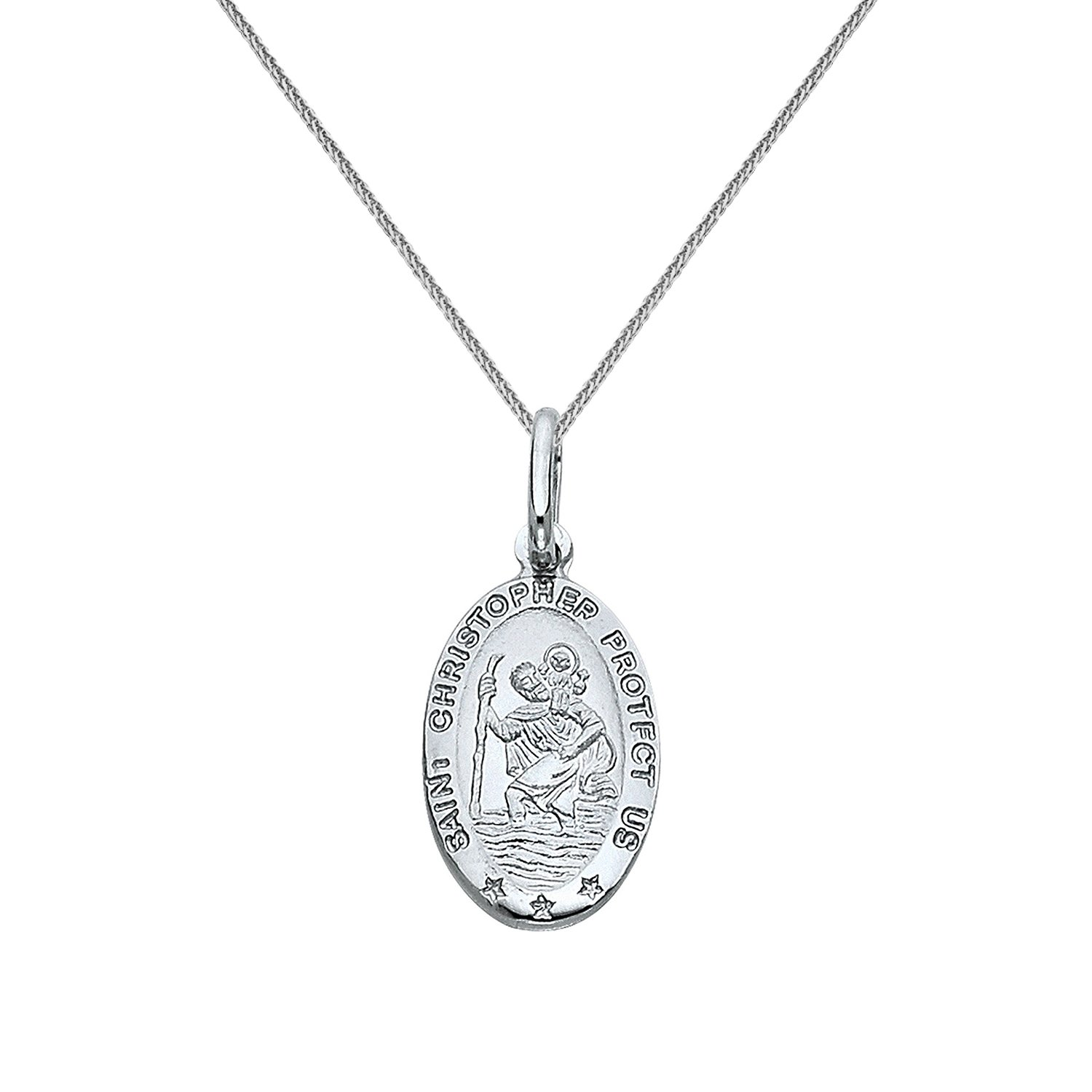14k White Gold Saint Christopher Oval Medal Pendant with 0.80-mm Square Wheat Chain