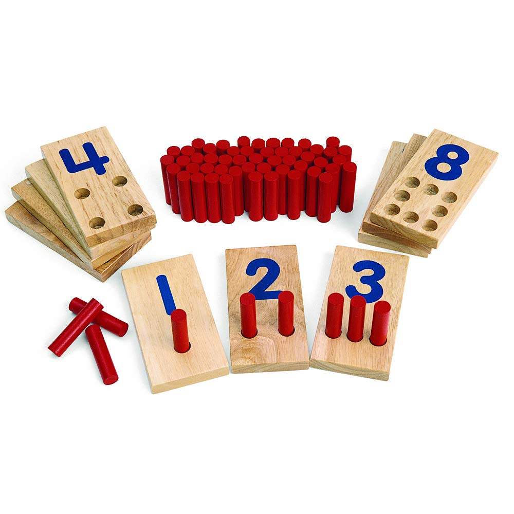 Excellerations 2.5 X 5 inches, Peg Number Boards Wooden, Counting Teaching Toy, Educational Toy, Preschool, Kids Toys by Excellerations