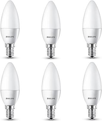 Philips 8718696510803 - Pack de 6 bombillas vela LED, luz blanca cálida, 5.5 W, casquillo E14, no regulable: Amazon.es: Iluminación