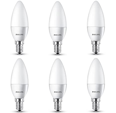 Philips 8718696510803 - Pack de 6 bombillas vela LED, luz blanca cálida, 5.5 W, casquillo E14, no regulable