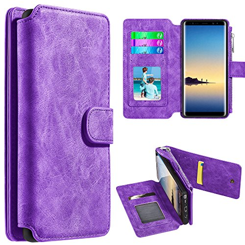 Samsung Galaxy Note 8 Case - PU Leather Clutch Zipper Pocket Flip Wallet [14 Card Slot Holders] with Magnetic Detachable Slim Cover - (Purple), Atom LED for Samsung Galaxy Note 8 (Bi Retro Watch)