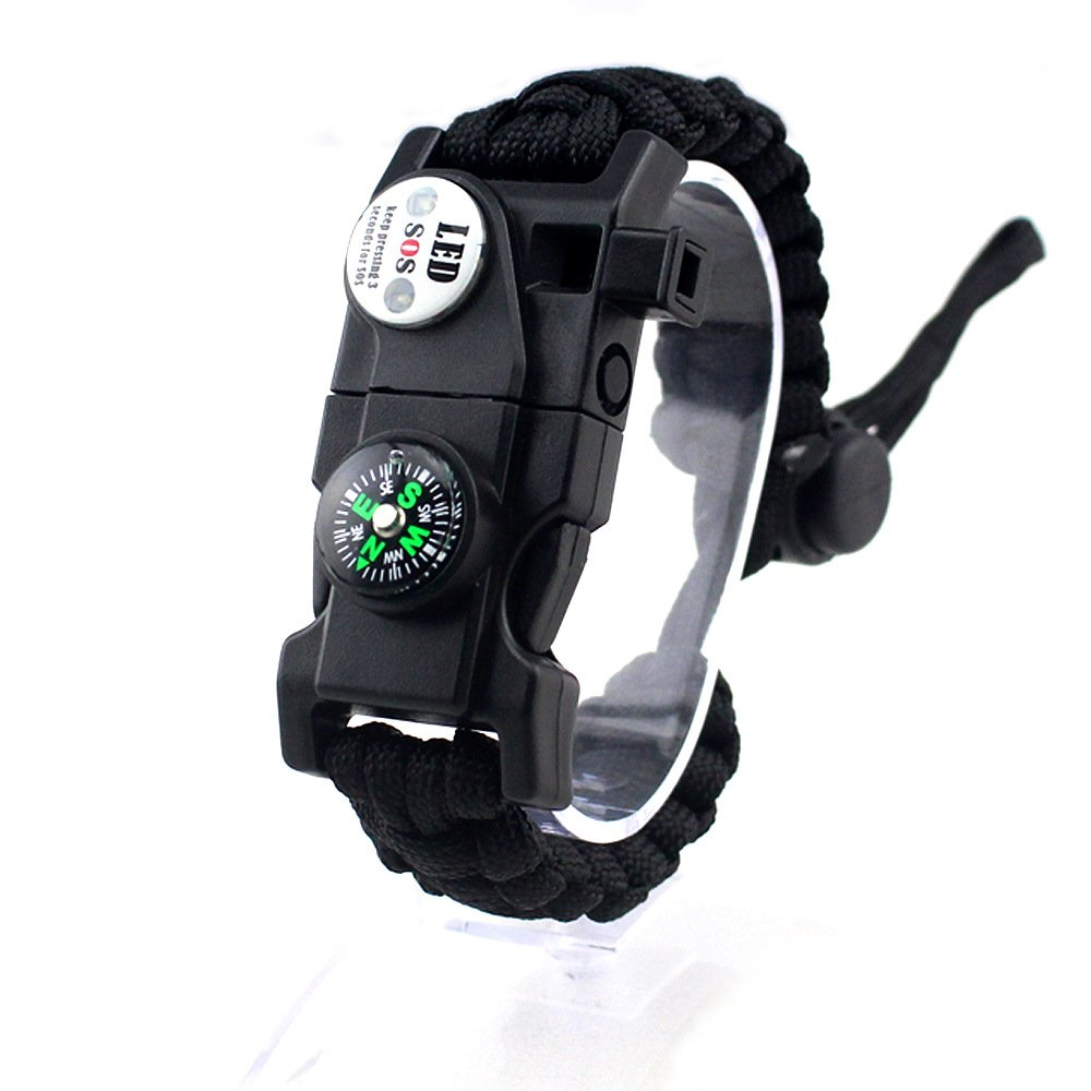 YyZCL Adjustable Survival Bracelet with Waterproof LED SOS Lamp, Compass, Rescue Whistle, Fire Entry Multi-Tool