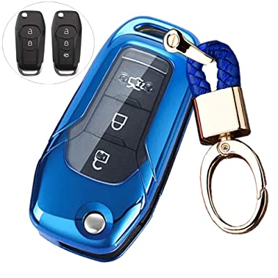 Royalfox(TM 2 3 Buttons Soft TPU flip Remote Key Fob case Cover for 2015 2016 2020 2020 Ford F150 F250,Focus 3 Escort Kuga Everest Fiesta Mustang Edge MKV Fusion 2016 Ranger (Blue): Automotive