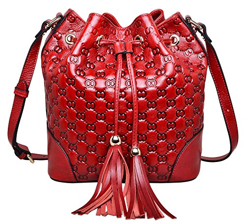 PIJUSHI Bucket Bags Drawsting Handbags Leather Crossbody Shoulder Purse (6005 red)