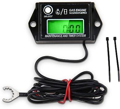 Digital Tiny Tachometer Mini Tach Hour Meter Job Timer Resettable Max RPM Black