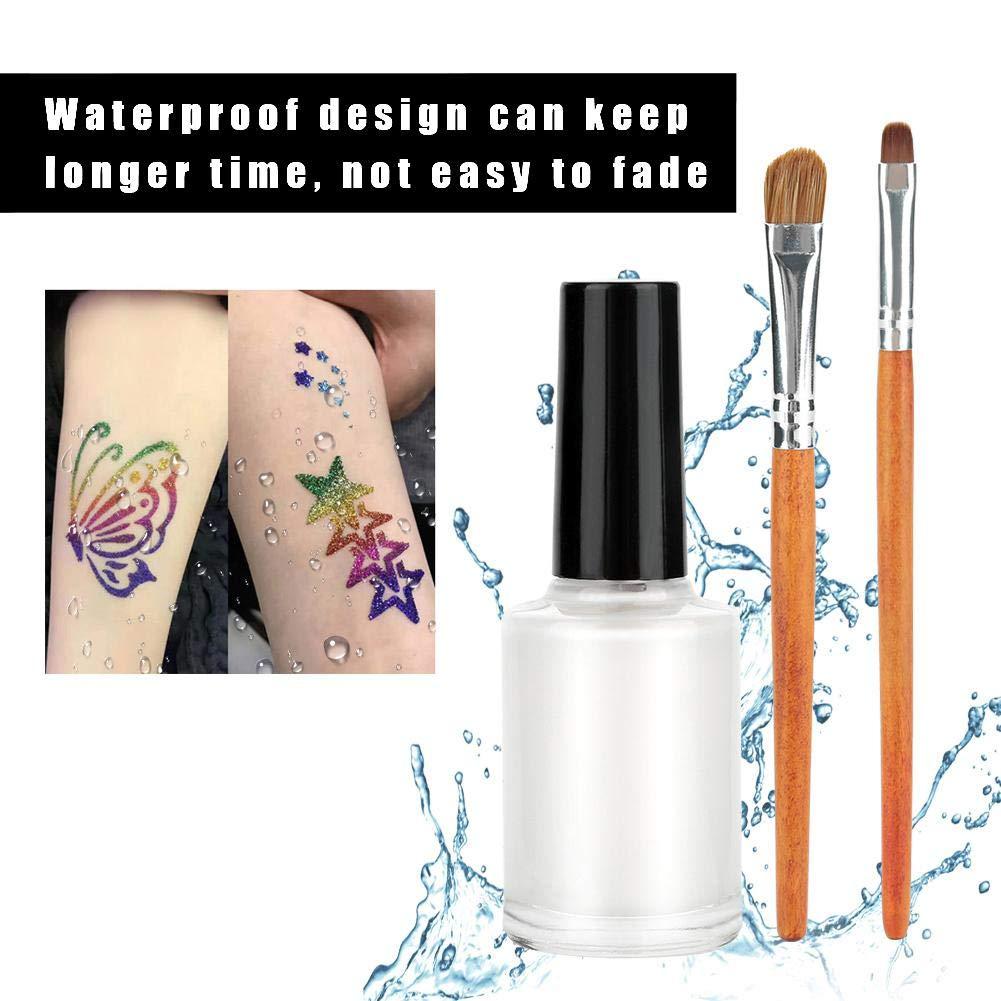 Tattoo Powder Diamond Colorful 3D Glitter Kit,Shimmer Tattoo and Nail Art 3D Decoration Waterproof Body Tattoo Art Paint with Stencil Brush by ZJchao (Image #2)