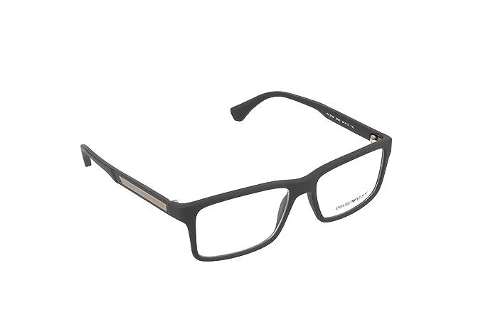 Emporio Armani 0EA3038, Monturas de Gafas para Hombre, Black Rubber, 54