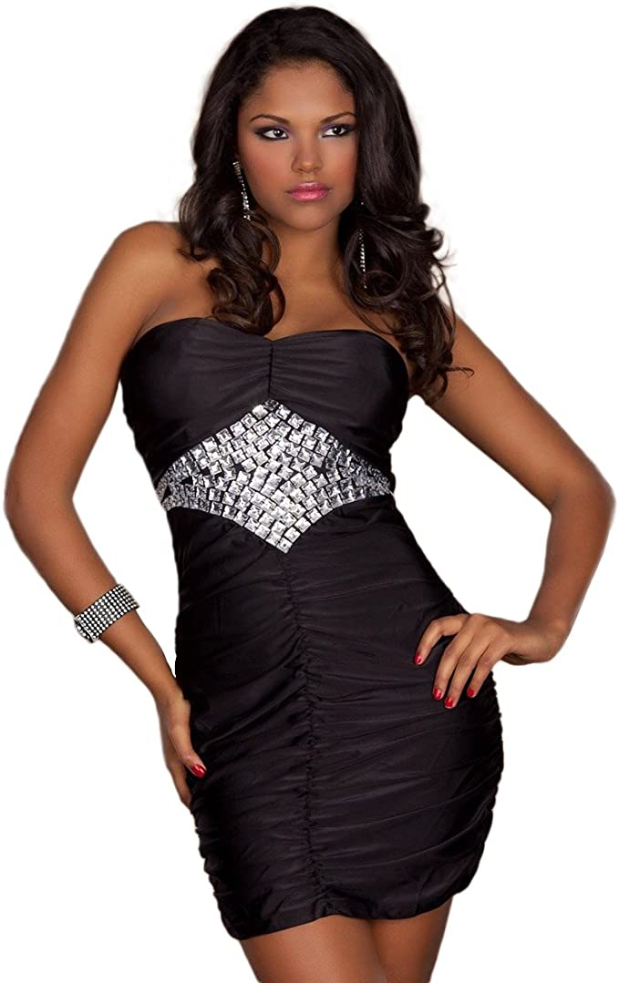Schößchen Ärmellos Minikleid Abendkleid Partykleid Cocktail Kleid S 36 Stretch