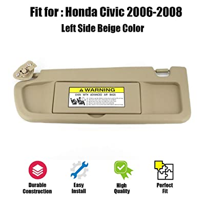 ustar Sun Visor Left Driver Side Fit for Honda Civic 2006 2007 2008 Without Vanity Light Replacement Part #83280-SNA-A01ZB (Beige, 2006-2008): Automotive