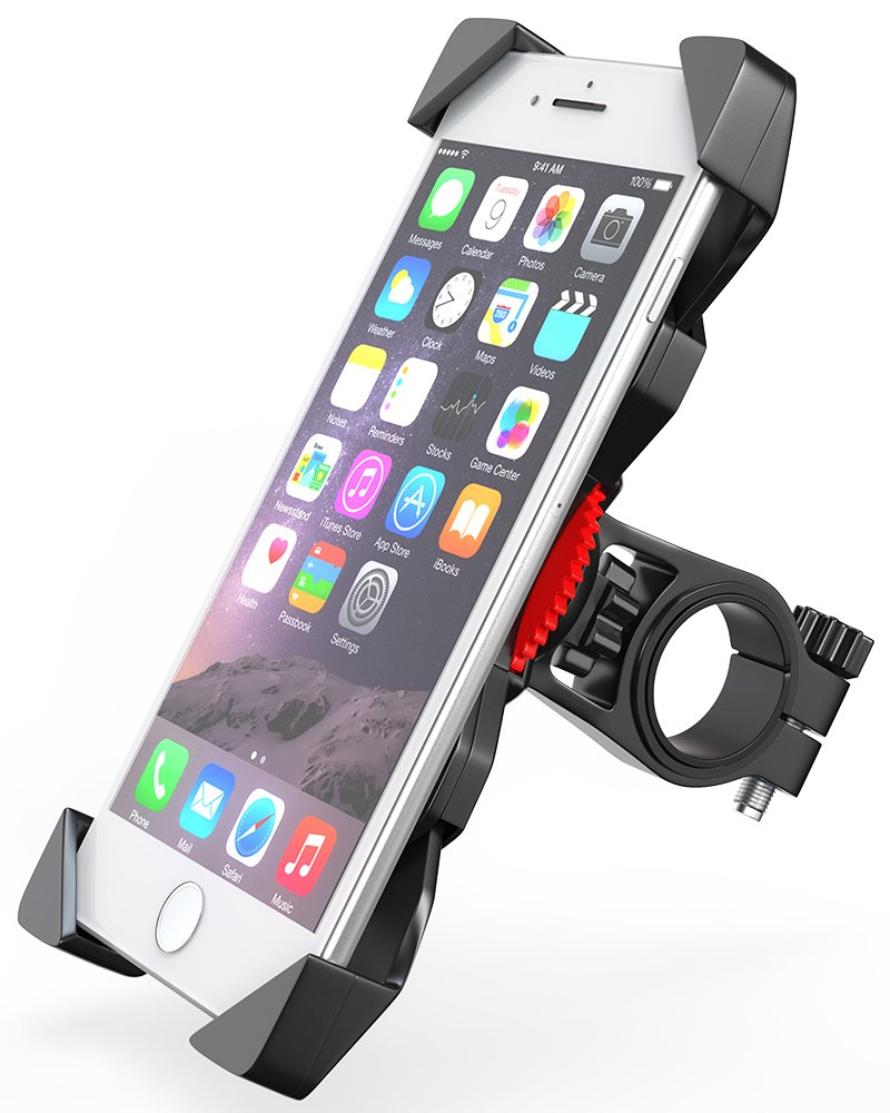 Bovon Soporte Movil Bicicleta, Anti Vibración Soporte Movil Bici Montaña con 360° Rotación para Moto Cochecito, Universal Manillar para iPhone X XS Max XR 8 ...