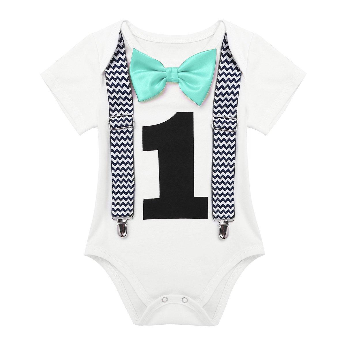 TiaoBug Mameluco de Bebé Caballero Blanco con Estampado Número 1 Traje Pelele para Recién Nacidos Primer Cumpleaños Manga Corta