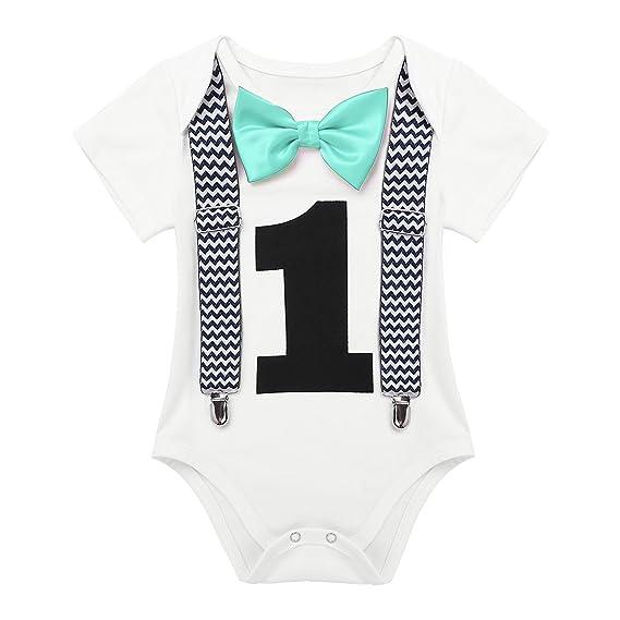 TiaoBug Mameluco de Bebé Caballero Blanco con Estampado Número 1 Traje Pelele para Recién Nacidos Primer Cumpleaños Manga Corta: Amazon.es: Ropa y ...