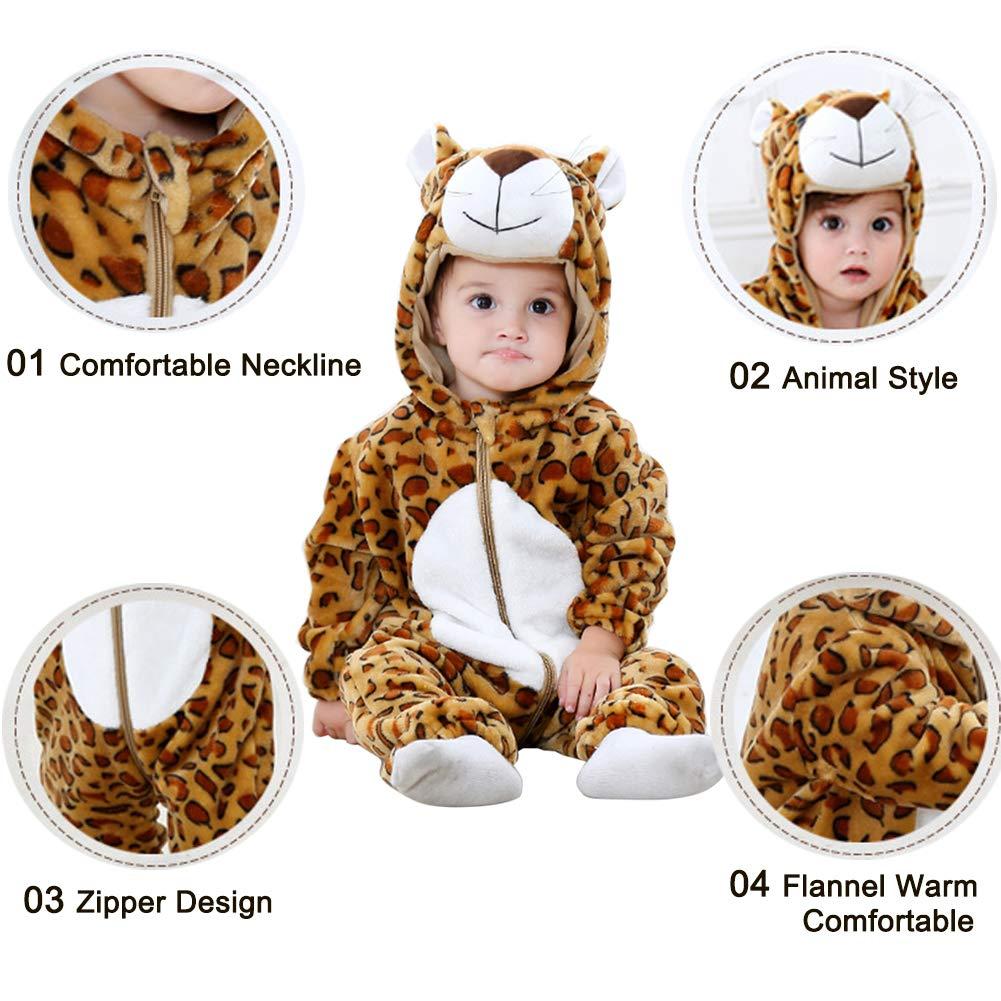 ele ELEOPTION Baby Spielanzug Overall,Flanell Baby Strampler Winter Baby Overrall,mit Kapuze Tier Stil Cosplay Bodysuit f/ür Baby Jungen und M/ädchen