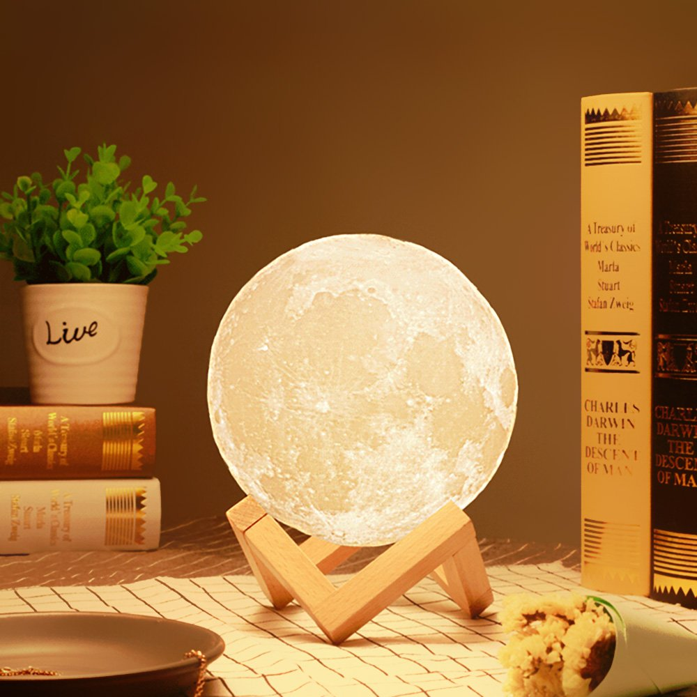3D Printed Moon Lamp LED Baby Night Light Table Desk Lamp USB Charging Wooden Base Touch Sensor Control 2-colors Dimmable Switch for Bedroom Birthday Decoration (Diameter 4.7 inch)