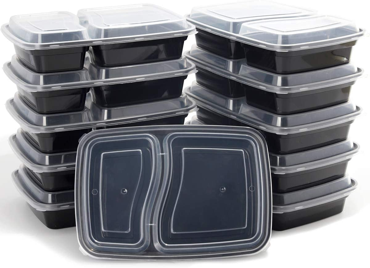 Meal Prep Containers [50 Pack] 2 Compartment with Lids, Food Storage Containers, Bento Box Microwave/Dishwasher/Freezer Safe,Supernal