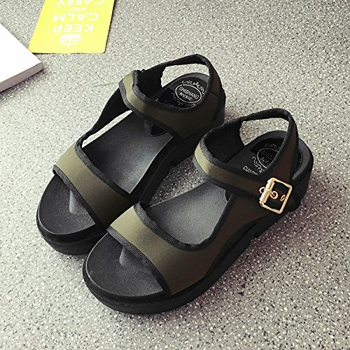 RUGAI-UE Sandalias de Verano Mujer Estudiante de fondo plano inferior grueso Ocio zapatos planos Army Green