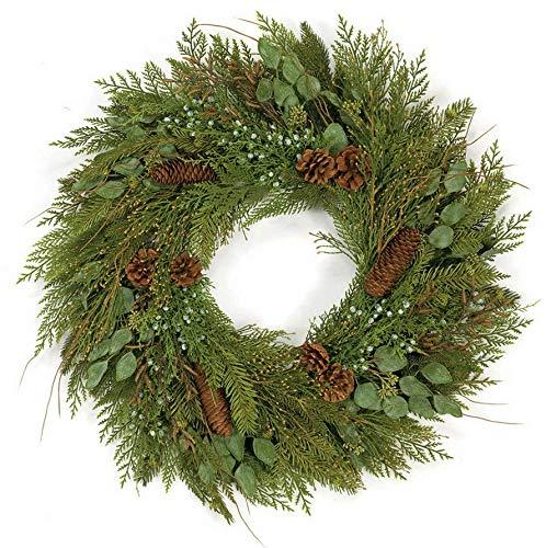 Mikash 30 Artificial Mixed Pine, Juniper, Cedar, Eucalyptus Twig Hanging Wreath -Gre | Model WRTH - 175