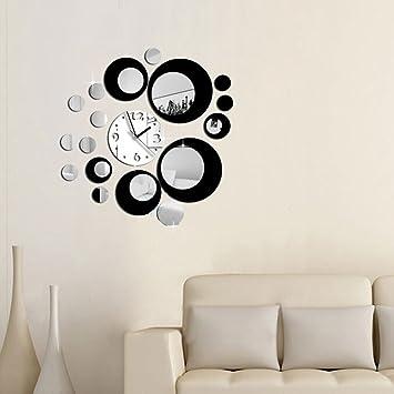 Yinew Kreis Spiegel Wanduhr DIY Stille Haus Dekoration Spiegel Wanduhr  Wohnzimmer Wand Aufkleber Schlafzimmer Hintergrund Wand-Sticker