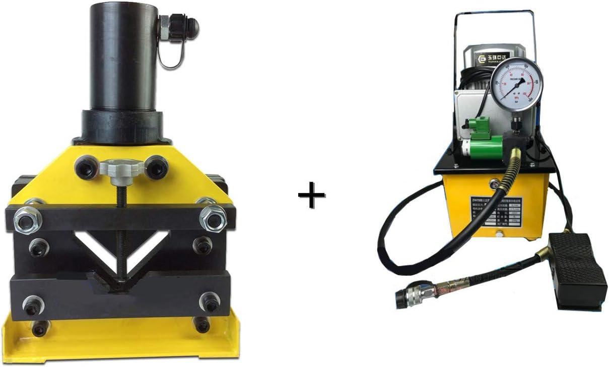 cgoldenwall cac-75Dividir hidráulico ángulo acero cortador herramienta de corte hidráulico ángulo de hierro acero 20T con zhh-700b eléctrico hidráulico bomba de válvula de solenoide