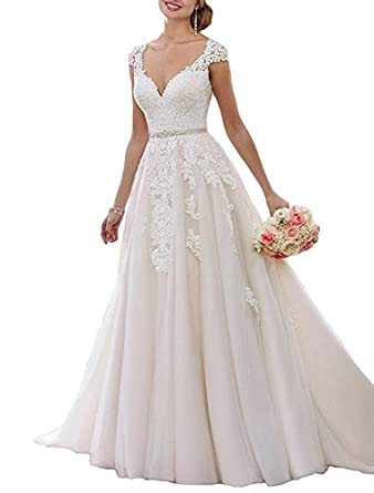 7d352b34ce6e V-Neck Wedding Dresses Cap Sleeve Beaded Ball Gown Chape Train Modest Bridal  Gown Champagne