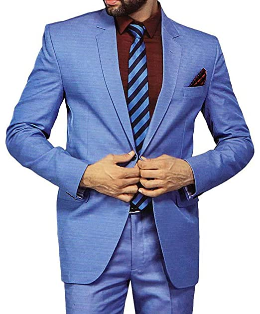 INMONARCH Mens Sky Blue 5 Pc Tuxedo Suit Notched Lapel One ...