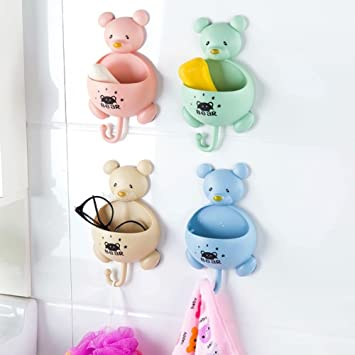 Steellwingsf Soporte de pared para toalla de ducha con ventosa para el oso del ba/ño talla /única azul