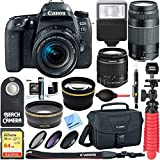 Canon EOS 77D 24.2 MP Digital SLR Camera Body with Case 64GB UHS-1 SDXC Memory Card Tripod Extra Battery Kit Cleaning Accessories & More Bundle (2 Lens Kit 18-55mm + 75-300mm)