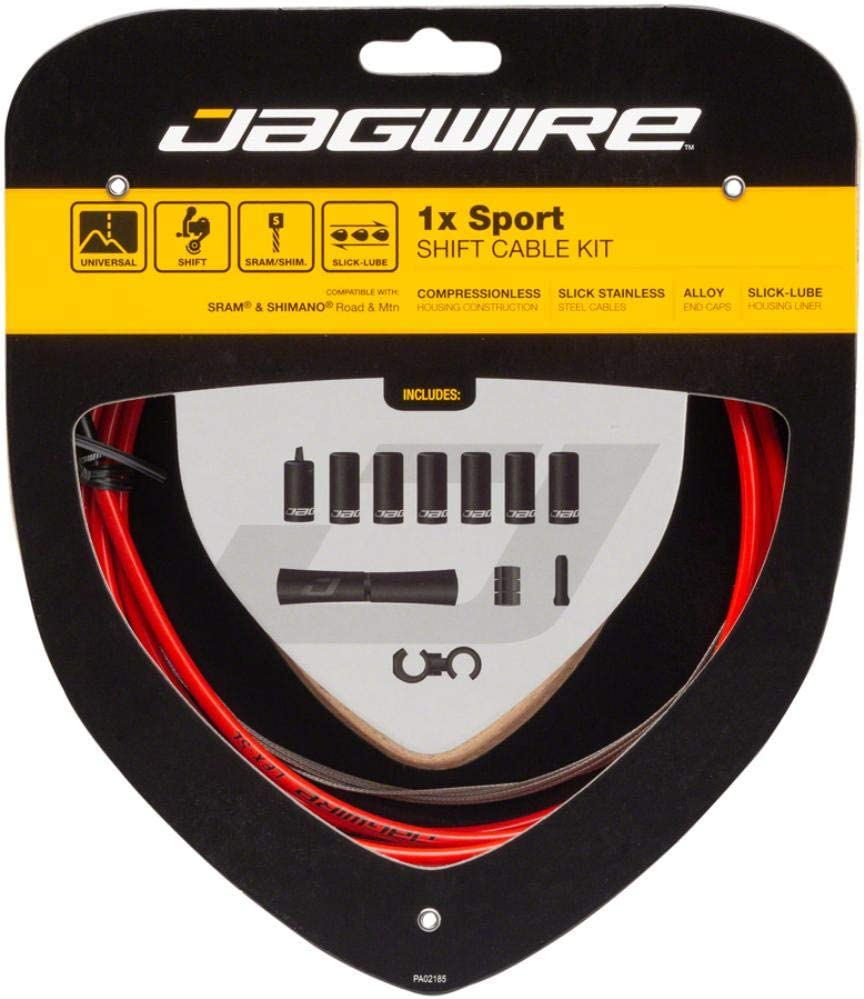 1x Sport Sealed DIY Shift Cable Kit and Gravel Bike SRAM and Shimano Shifter Compatible for Road Sport Slick Cables with Compressionless Housing Jagwire MTN Red