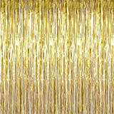 Maid with Honor - Foil Fringe Curtain (2 pack) GOLD Metallic Photo Booth Tinsel Backdrop Door Curtains - Perfect For Christmas & New Years Eve Party Decorations. Fun for Birthday, Bachelorette Parties, Weddings