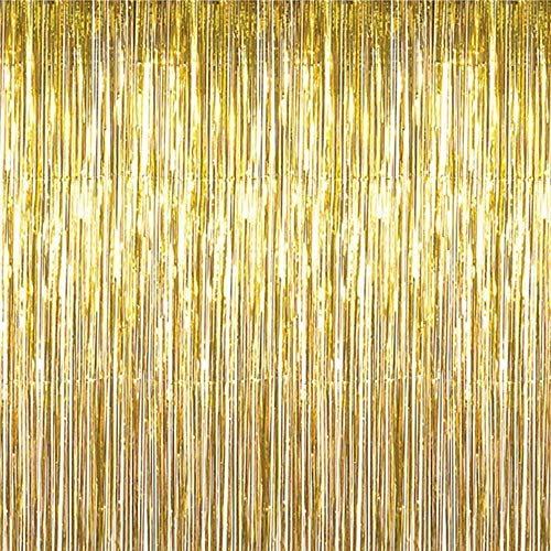 Maid with Honor - Foil Fringe Curtain (2 pack) GOLD Metallic Photo Booth Tinsel Backdrop Door Curtains - Perfect For Christmas & New Years Eve Party Decorations. Fun for Birthday, Bachelorette Parties, Weddings]()