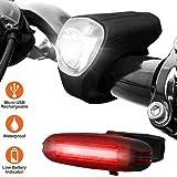 BV シリコン自転車LEDライト USB充電式 簡単装着 防水仕様 BV-L816 ライトセット