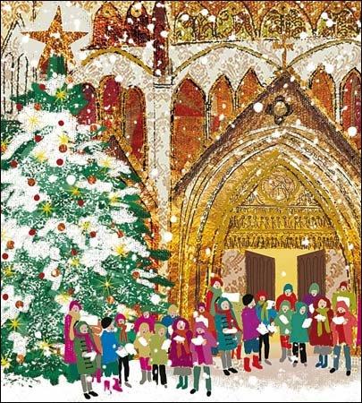 Charity Christmas Cards (WDM8359) –  Joy of the world –  Carol Singers –  Confezione da 5 carte –  venduto in aiuto di Marie Curie –  Gold glitter Woodmansterne