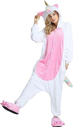 Unisex Adulto Unicornio Pijamas Plush Cosplay Animal Costume ...