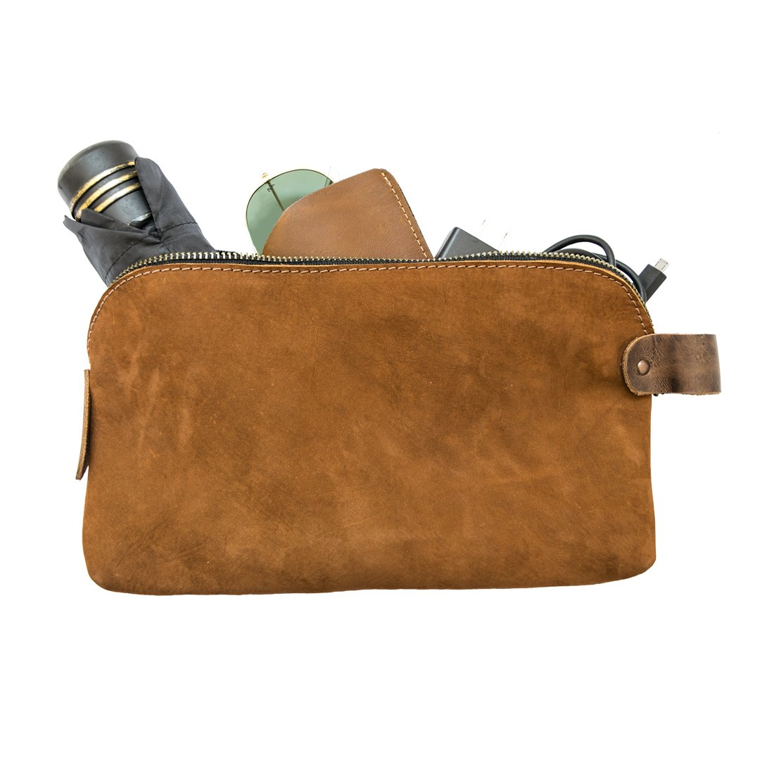 Large All Purpose Dopp Kit Utility Bag (Cords, Chargers, Tools, School / Office Supplies) Handmade by Hide & Drink :: Swayze Suede
