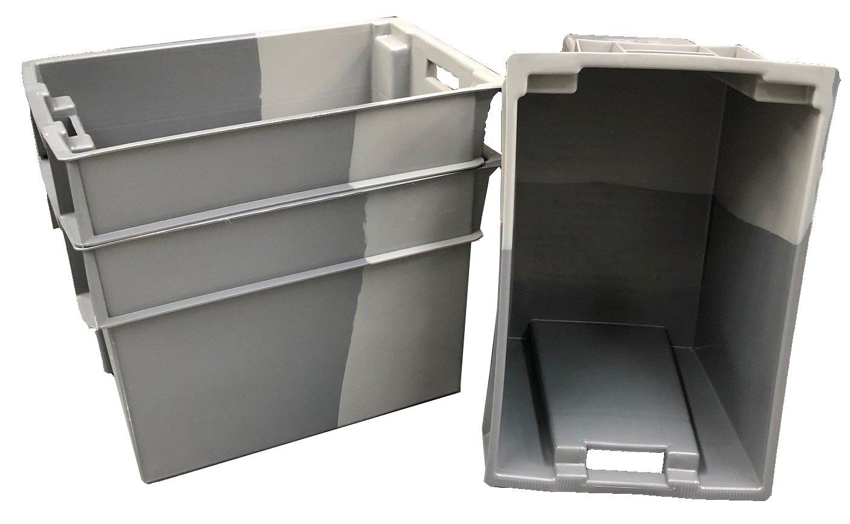 5 cajas de almacenamiento de plástico de 70 litros, color gris, apilables y profundas, de 180 grados, 600 x 400 euro, apilables y resistentes, ...
