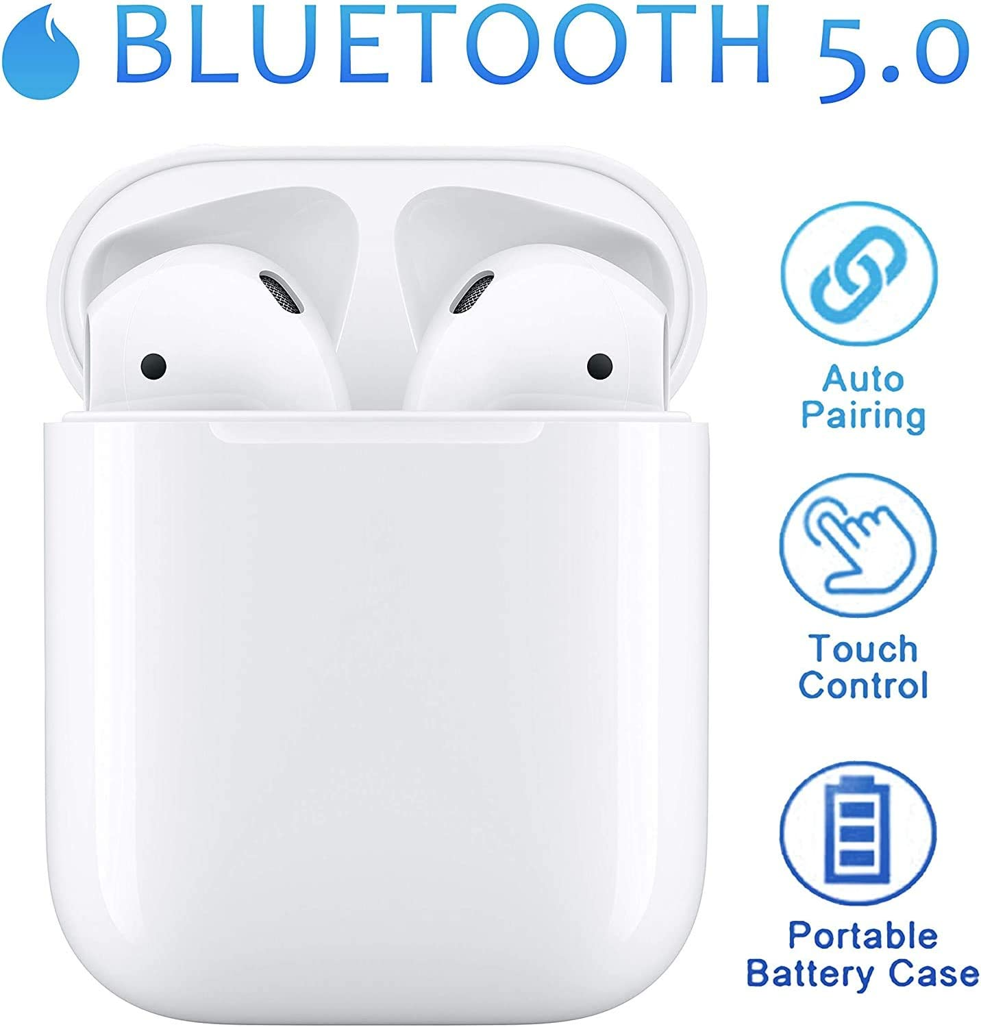 Auriculares Bluetooth 5.0 Auriculares Inalámbricos Control Táctil con Graves Profundos In-Ear Auriculares Bluetooth con Caja de Carga Rápida IPX5 Impermeables,para Android/iPhone Auriculares