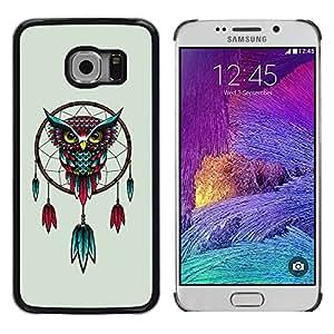 PC/Aluminum Funda Carcasa protectora para Samsung Galaxy S6 EDGE SM-G925 Awesome Colorful Owl Dream Cather / JUSTGO PHONE PROTECTOR