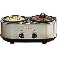 Cooks Professional Double Pot Slow Cooker with Glass Lids & Removable Ceramic Bowls 2 x 1.2L Litre, Silver