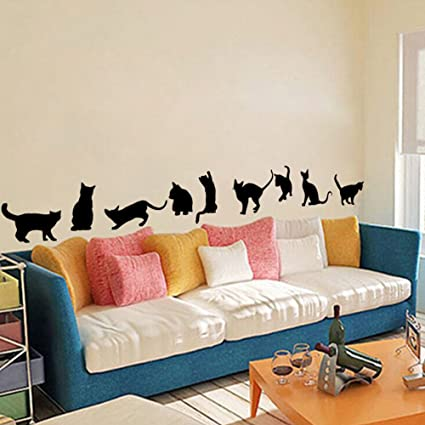 Winhappyhome Gatti neri adesivi da parete per camera da letto ...