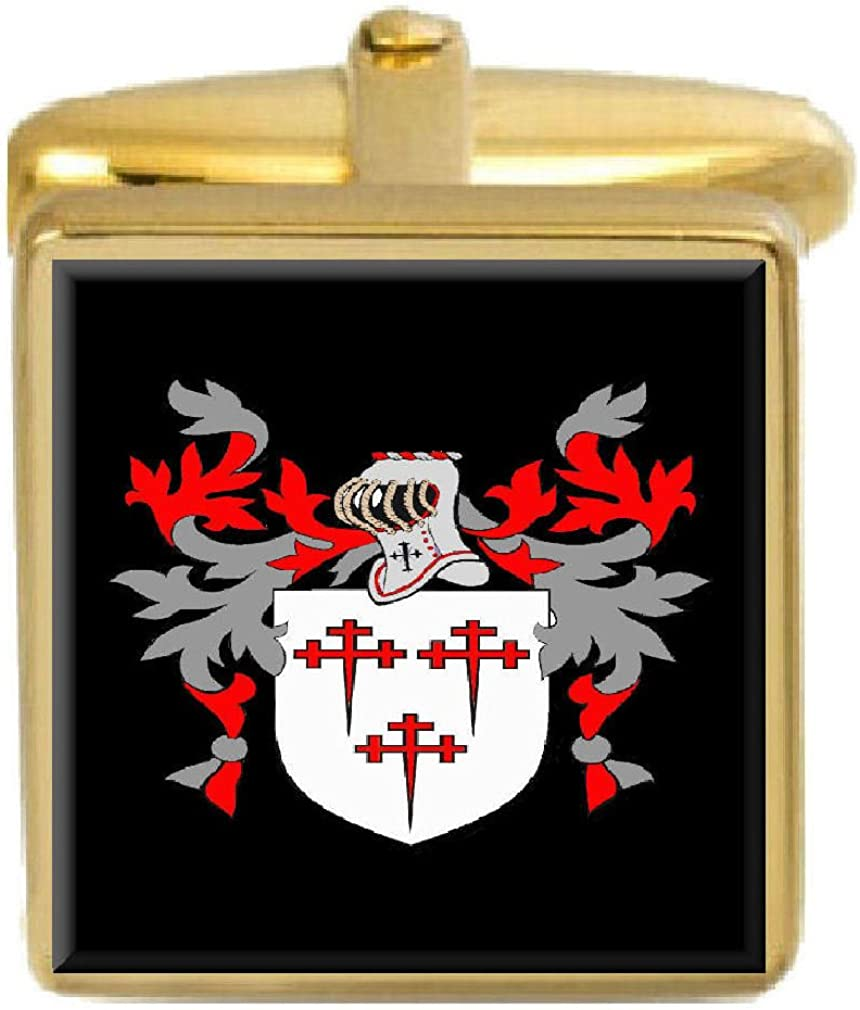 Select Gifts Adam England Family Crest Surname Coat Of Arms Gold Cufflinks Engraved Box