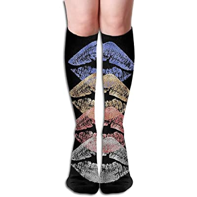 Nifdhkw Tube High Keen Sock Boots Crew Colored Lips Compression Socks Long Sport Stockings: Ropa y accesorios