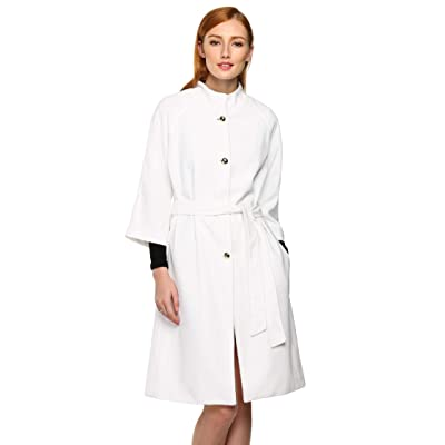 ACEVOG Women Lapel Single Breasted Thick Wool Trench Coat Jacket Windbreaker