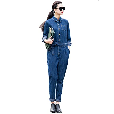 eba35bbe5f Kenavinca Women S Full Sleeve Casual Loose Denim Jumpsuits Lady S Fashion Blue  Overalls With Sashes ...